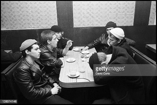 British group Dexys Midnight Runners pose in a cafe in Birmingham England in March 1980
