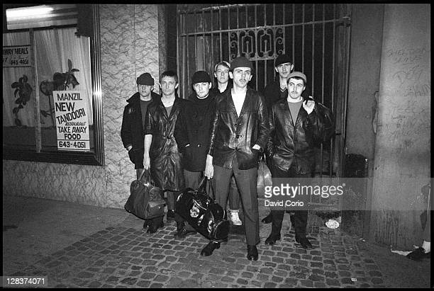British group Dexys Midnight Runners pose on a street in Birmingham England in March 1980 Lead singer Kevin Rowland is standing at the front of the...
