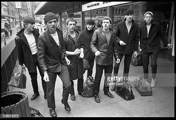 British group Dexys Midnight Runners pose on a street in Birmingham England in March 1980 Lead singer Kevin Rowland is 2nd from left