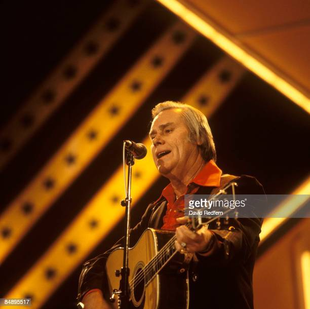 Country musician George Jones performs on stage at the Country Western Festival held at Wembley Arena London in March 1986