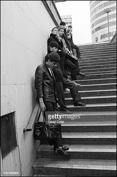 Dexys Midnight Runners pose for a group portrait with Kevin Rowland bottom left in March 1980 in Birmingham United Kingdom