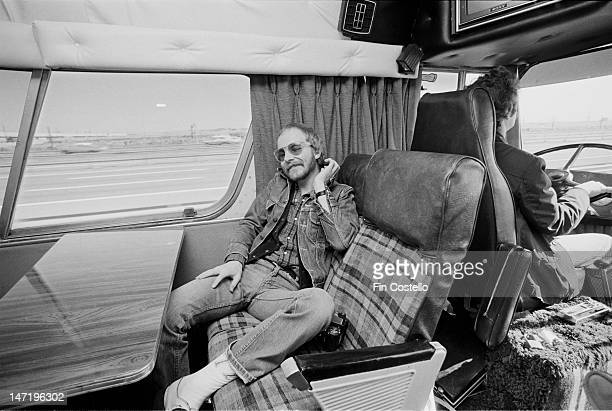 guitarist Andy Powell from British rock group Wishbone Ash relaxes on a tour bus travelling between New York and Philadelphia during the band's tour...