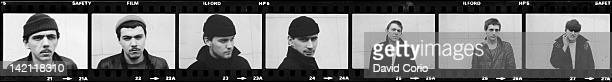 multi frame image of each member of English group Dexys Midnight Runners posed in the Bull Ring Shopping Centre in Birmingham England in March 1980...