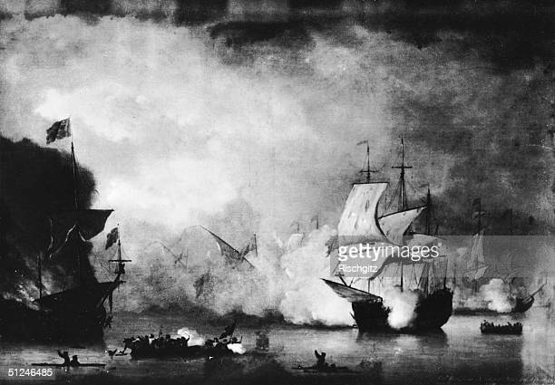 1st May 1681 The peaceful merchant ship 'Kingfisher' being attacked by Algerian pirates Original Artwork 'Piracy' by Monamy