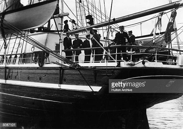 The sailing of Captain Scott's ship 'Terra Nova' in June 1910 with Captain Scott and his men on board just before leaving