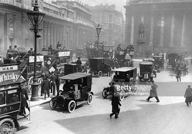 Traffic in London outside the earlier Bank of England and Royal Exchange