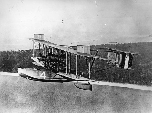 An Curtiss NC 4 in flight over the coast of Florida...