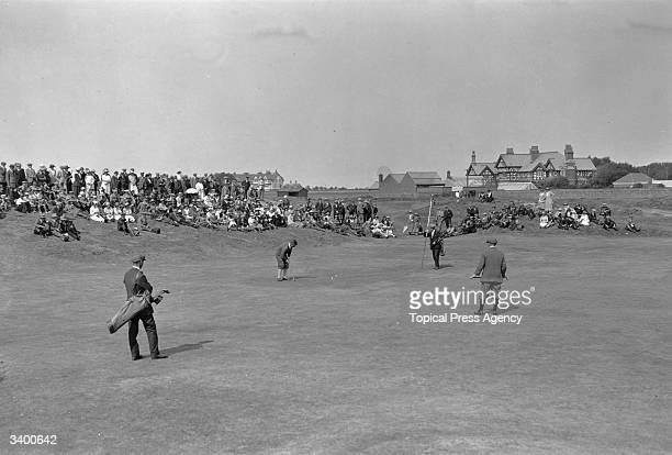 Bobby Jones champion American golfer who won the British Open three times and the US Open four times putting at the Amateur Golf Championship at...
