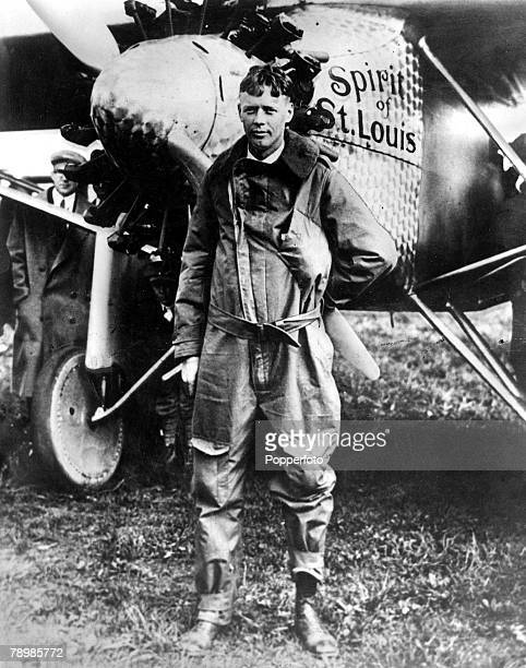 1st May 1927 USA US Aviator Colonel Charles Lindbergh pictured with his plane the 'Spirit of St Louis' in which he made the first solo nonstop flight...