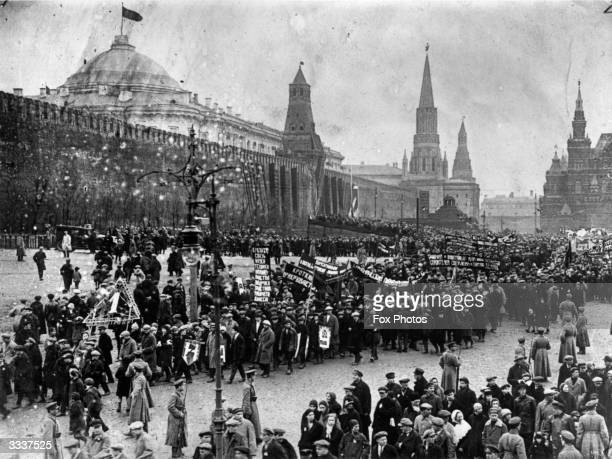 A procession through Moscow's Red Square to celebrate the annual May Day holiday