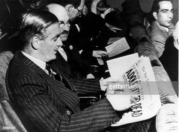 Chairman of the British delegation to the United Nations Council Anthony Eden reading a newspaper headline declaring Hitler's death Clement Attlee...