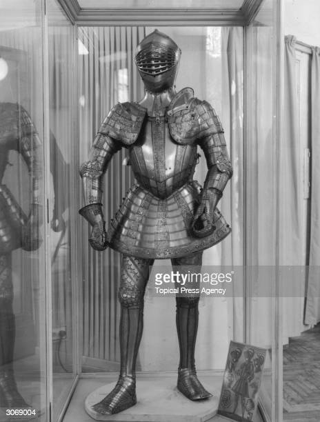 A Tonlet armour of Emperior Maximilian II on display at an exhibition of Austrian armour at the Tower of London The armour is stamped with the marks...