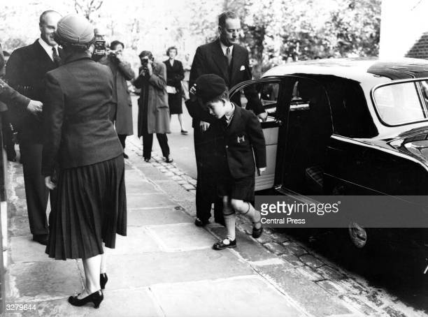 Prince Charles stepping out of a car ourside his school in Knightsbridge London