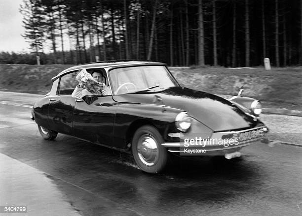 Lord Hailsham at the wheel of a Citroen DS19 during demonstrations on the new research track at Crowthorne Parks Berkshire