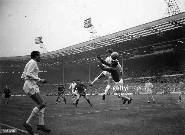 Leeds United players Jackie Charlton and Gary Sprake defending at Wembley during an FA Cup final with Liverpool Liverpool won 21