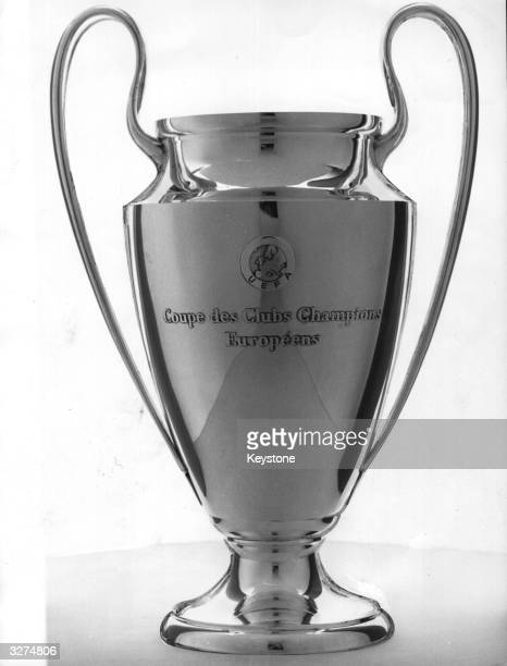A closeup of the new European Cup made in Switzerland Its purchase was necessary because Ajax the Dutch soccer team retain the old one having won it...