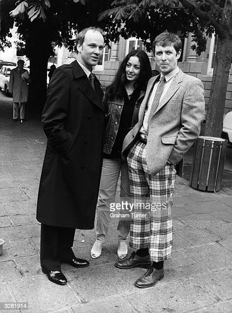 Sean Arnold John Nettles and Cecile Paoli members of the cast of the television series 'Bergerac' on location in Jersey