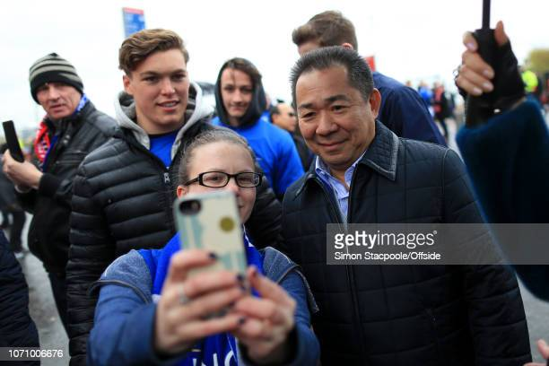 1st May 2016 Barclays Premier League Manchester United v Leicester City Leicester owner and Chairman Vichai Srivaddhanaprabha poses for selfies with...