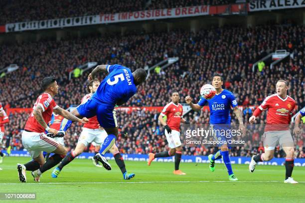 1st May 2016 - Barclays Premier League - Manchester United v Leicester City - Wes Morgan of Leicester scores their 1st goal - .
