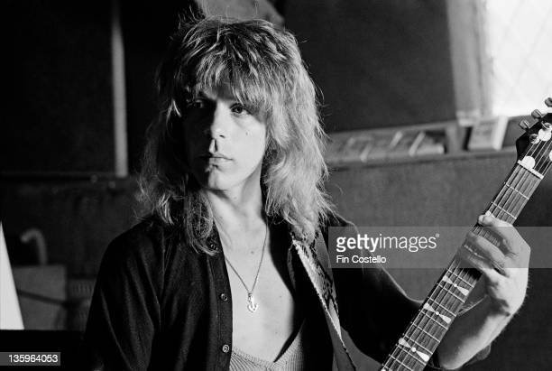 American guitarist Randy Rhoads recording Ozzy Osbourne's 'Blizzard of Ozz' album at Ridge Farm Studio in West Sussex England in May 1980
