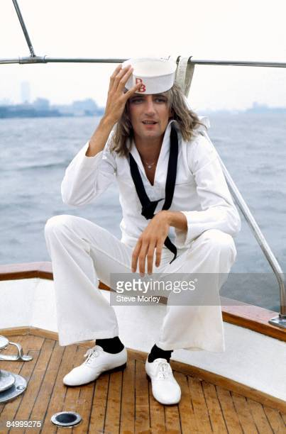 British singer Rod Stewart posed on a boat in New York Harbour at a press event to promote his new album Atlantic Crossing while dressed in sailor...