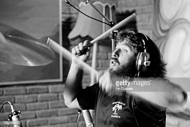 English drummer Lee Kerslake recording Ozzy Osbourne's album 'Blizzard of Ozz' album at Ridge Farm Studio in West Sussex England in May 1980