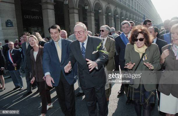 1st May march of the French far rightwing and nationalist politician founder and President of the National Front JeanMarie Le Pen with his daughter...