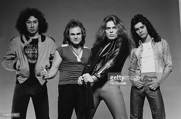 Van Halen pose in a London photographic studio in May 1978 Left to Right Alex Van Halen Michael Anthony David Lee Roth Eddie Van Halen