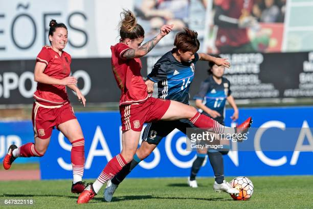 Mina Tanaka of Japan Women challenges María Pilar Léon Cebrian and Ivana Andrés Sanz of Spain Women during the match between Japan v Spain Women's...