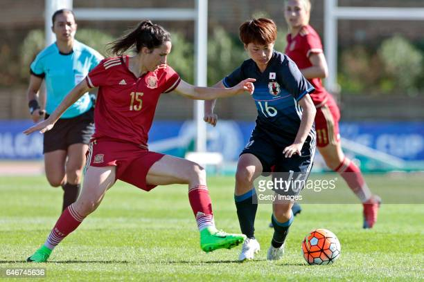 Mina Tanaka of Japan Women challenges Silvia Meseguer Bellido of Spain Women during the match between Japan v Spain Women's Algarve Cup on March 1st...