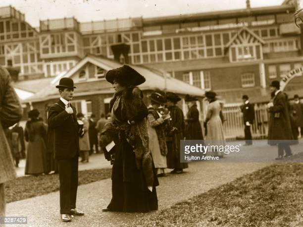 Lady de Bathe formerly Lillie Langtry talking to Mr Darling Jnr at Newbury Racecourse