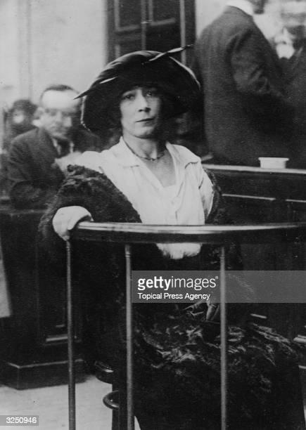 Mlle Fernande Segret surviving fiancee of murderer Henri Desire Landru in court during his trial Known as the French 'Bluebeard' Landru was found...