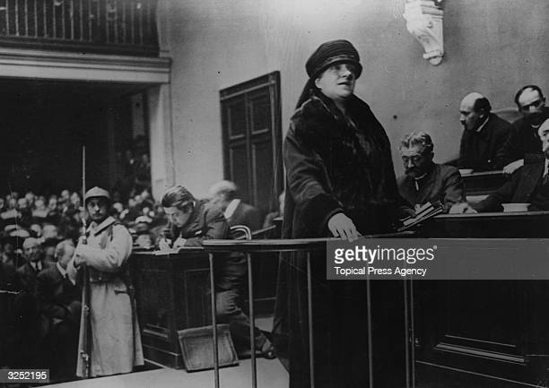 The mother of Mlle Andree Babelay in the witness box during the trial of murderer Henri Desire Landru He was found guilty of the murder of ten women...