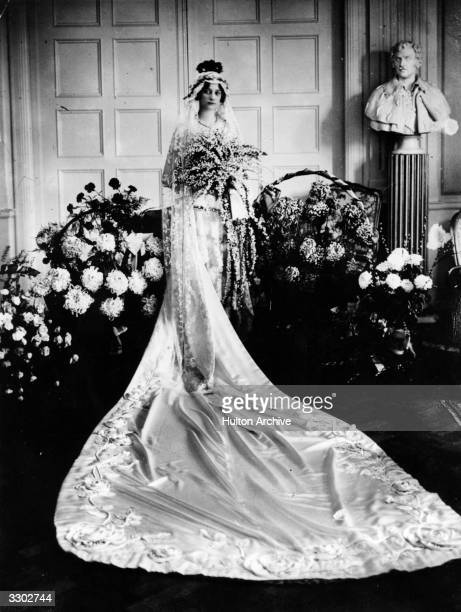 Princess Astrid of Belgium in her wedding dress before her marriage to Prince Leopold