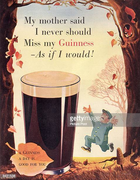An Irish leprechaun prepares to enjoy a full pint of Guinness bearing the slogan 'A Guinness a day is good for you' Original Publication Picture Post...