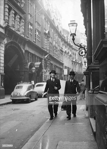 Two city gents walking down a London street possibly in Cheapside Original Publication Picture Post 8061 Bow Bells unpub