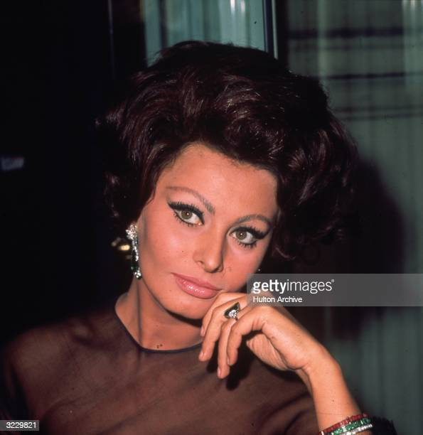 Italian film star Sophia Loren at the Savoy Hotel