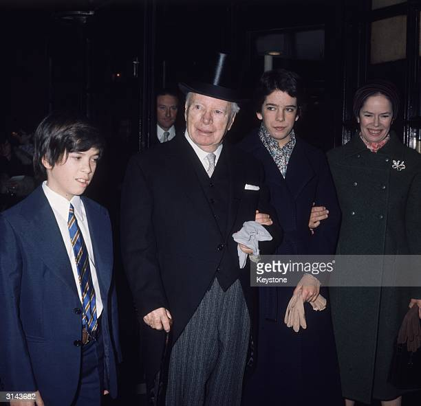 Sir Charles Chaplin with his wife Oona and family
