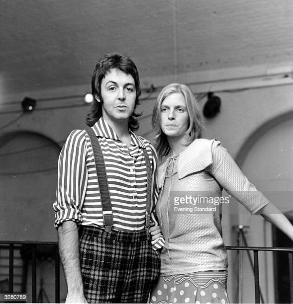 ExBeatle Paul McCartney who has formed a new group called Wings with his wife photographer Linda Eastman