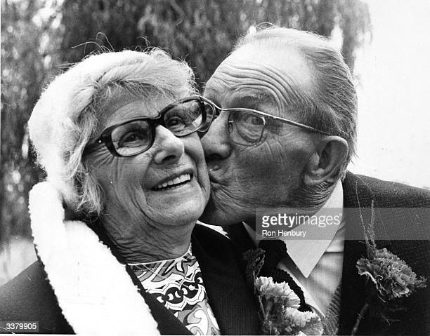 Mr Francis Gainsbury and his wife outside outside Barking Registry Office after their second marriage ceremony together. They were married for the...