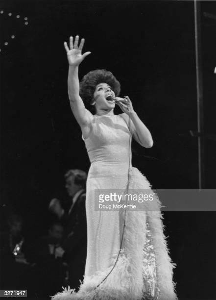 Popular Welsh singer Shirley Bassey in concert