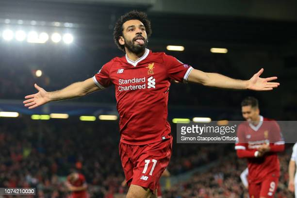 1st November 2017 UEFA Champions League Group E Liverpool v NK Maribor Mohamed Salah of Liverpool celebrates after scoring their 1st goal