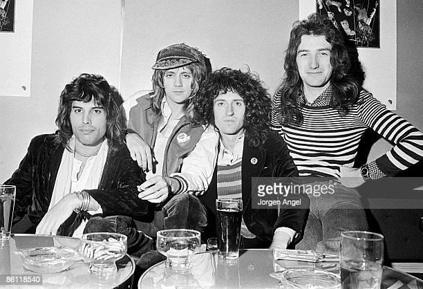 British rock group Queen posed in Copenhagen Denmark in November 1974 L R Freddie Mercury Roger Taylor Brian May John Deacon