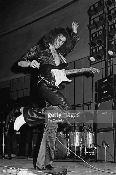 Guitarist Ritchie Blackmore from Deep Purple performs live on stage during the band's American tour in November 1974