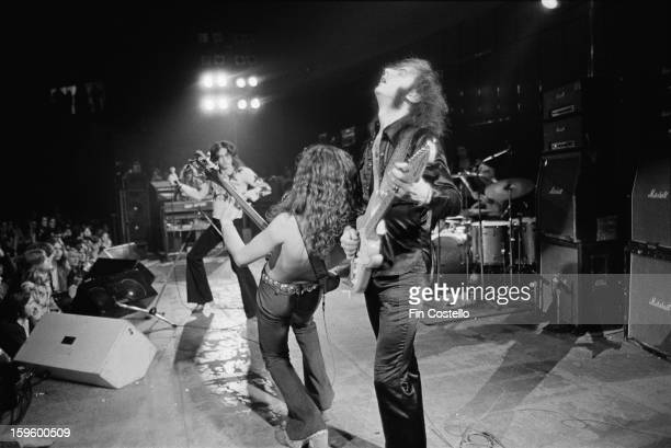 Rock group Deep Purple perform live on stage during the band's American tour in November 1974 Left to right keyboard player Jon Lord singer David...