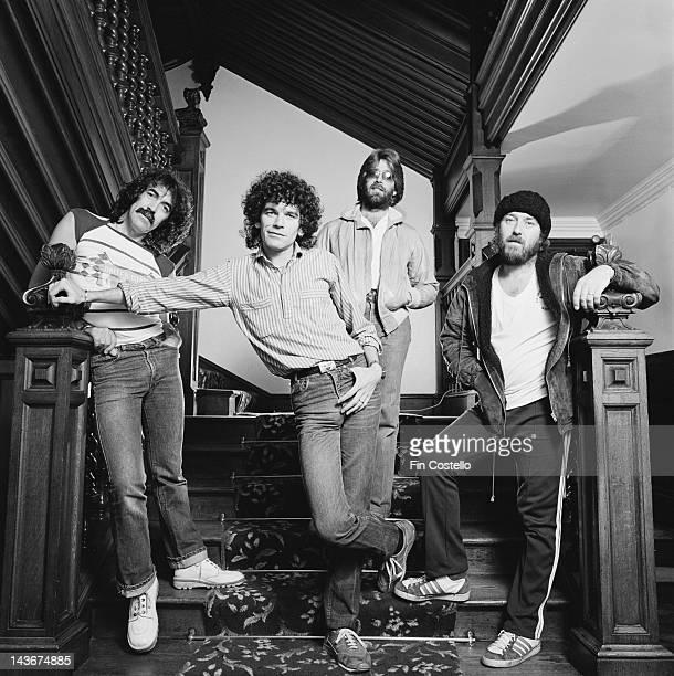 Scottish rock band Nazareth posed in Scotland in November 1980 Left to right guitarist Manny Charlton singer Dan McCafferty drummer Darrell Sweet and...