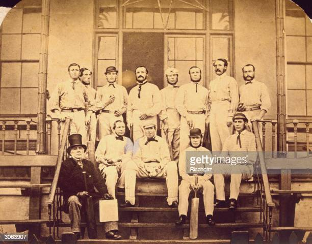 The England cricket team assembled at Lord's in London before leaving for the 1863 test match in Australia They are Julius Caesar Alfred Clarke...