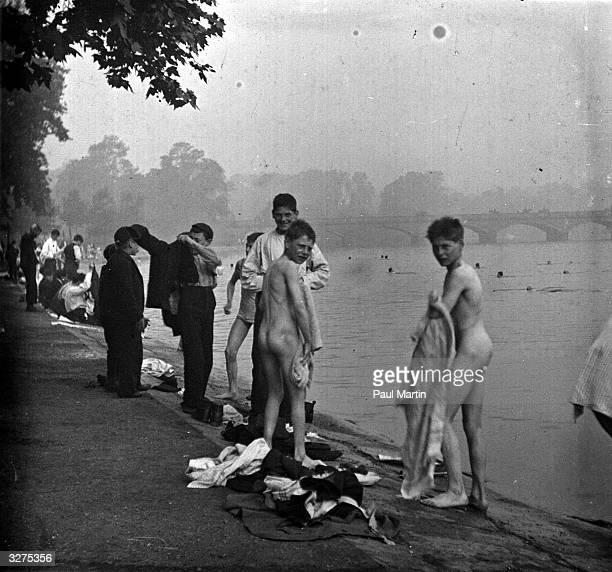 Getting dressed after a swim in the Serpentine in Hyde Park