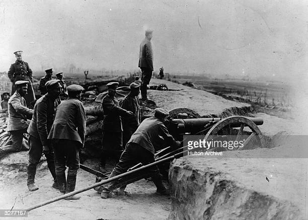 Russian battery at the siege of the Polkish border town of Przemysl and Austrian-Hungarian fortress.