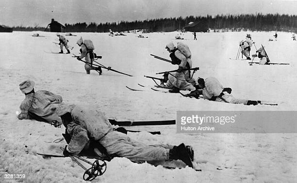 Finnish infantry on skis the famous 'phantom troops' who inflicted heavy losses on the Russians